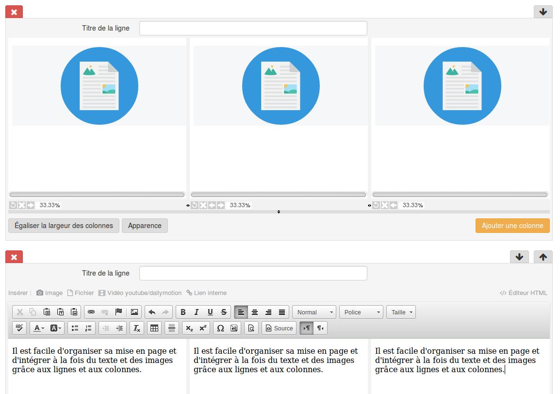 Positionner des blocs de texte ou image