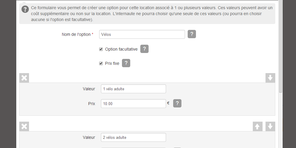 Modifier l'option