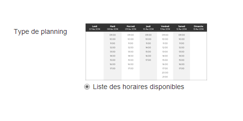 Liste horaires