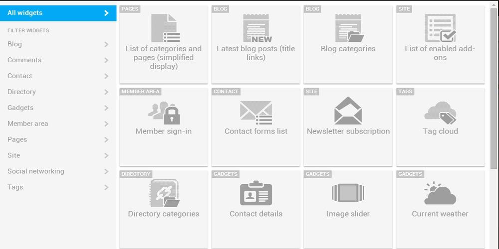 Widget list Kyma-Web